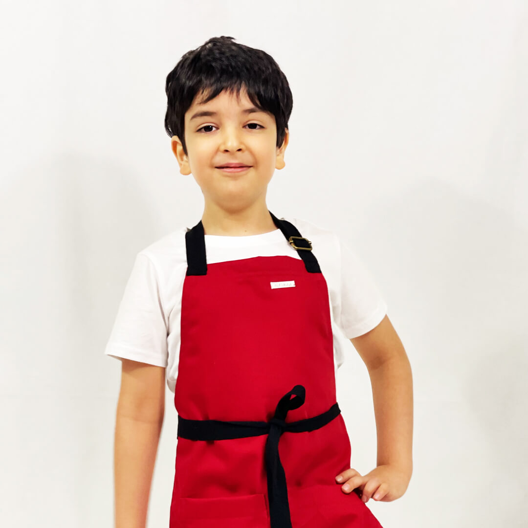 Kufukaa Merlot Dark Red Denim Kids Apron