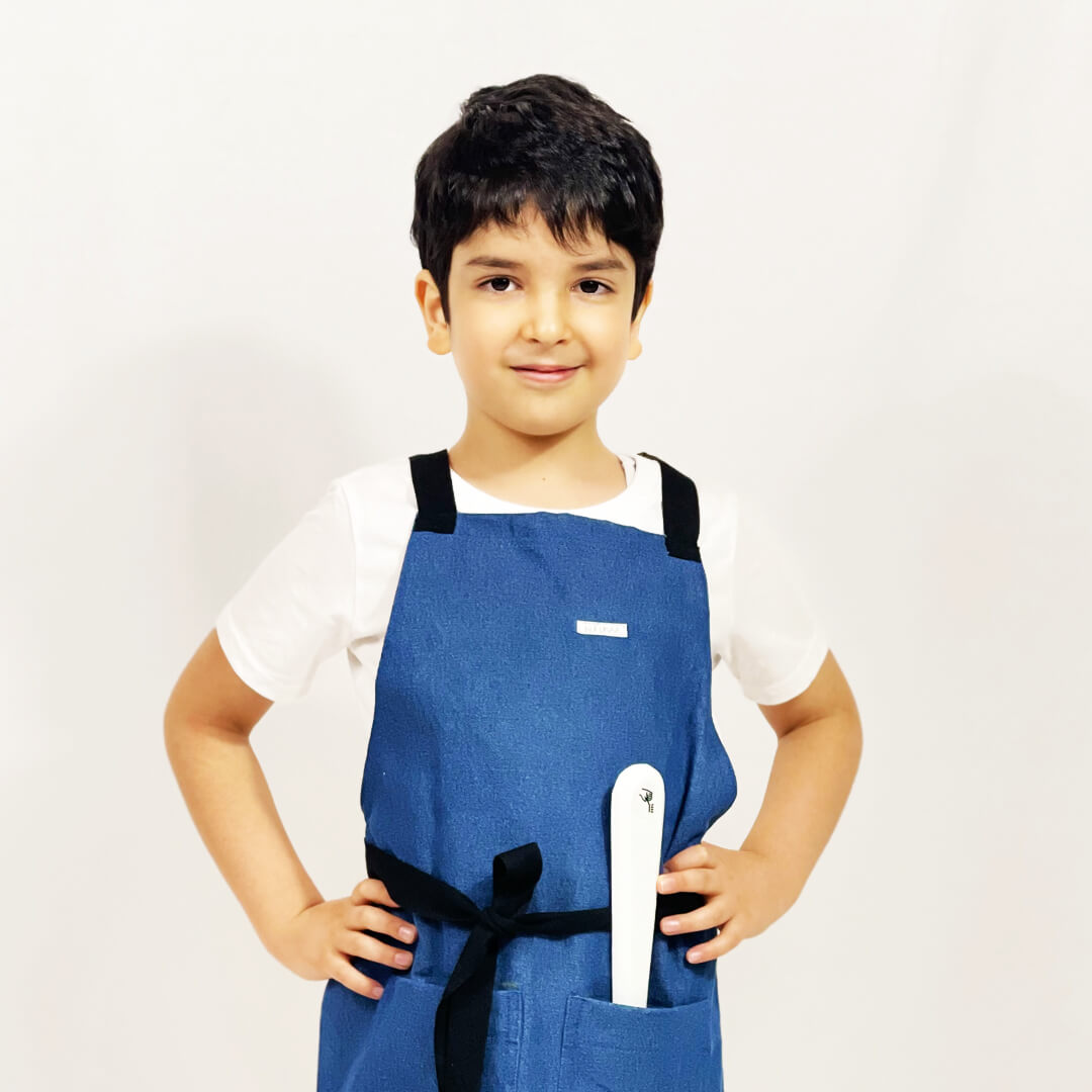 Kufukaa Washed Denim Trucker Kids Apron