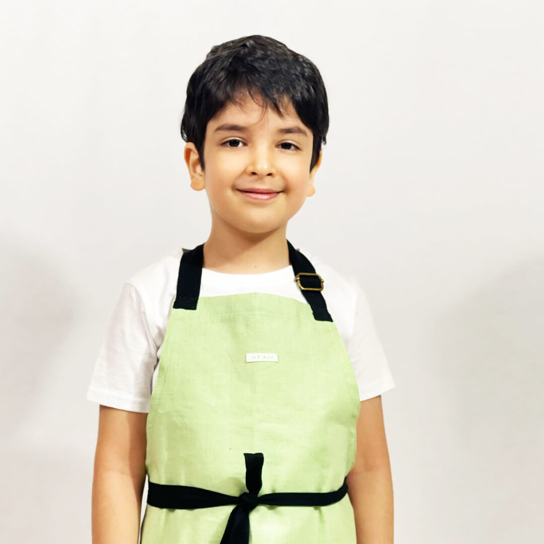 Kufukaa Suade Mint-Green Denim Kids Apron